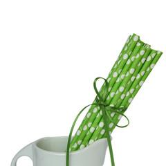 Paper Straws, Green Polka Dots