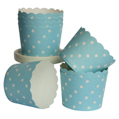 [SALE] Baking / Treat cups, blue and white polka dots