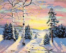 Candy Winter Landscape Canvas Art Print by RW Hedge