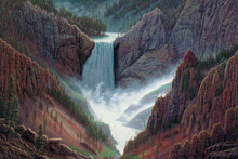 Mountain Waterfall Landscape Art | In The Beginning by R. W. Hedge