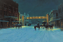 Fort Worth Western Canvas Art | Lyndy Benson Silent Night In Cowtown