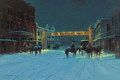Fort Worth Western Canvas Art | Lyndy Benson Silent Night In Cowtown