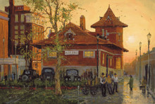 H. C. Zachry Fine Art Reproduction Canvas Print of Abilene Texas Historic Train Depot