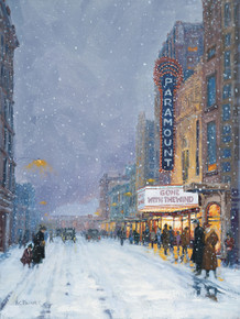 Fine Art Canvas Print of H. C. Zachry's painting of the Paramount Theater in Abilene, Texas.