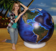 "54"" Inflatable Earth Globe DARK BLUE, OCEANS"
