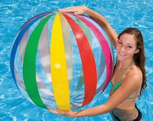 "42"" 6 Color Clear & Ribbon Striped Beach Ball"