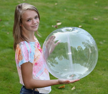 """24"""" 6 Panel Clear GLOW STICK or SPRINKLER Beach Ball w/ Clear Tube"""
