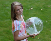 """16"""" 6 Panel Clear GLOW STICK or SPRINKLER Beach Ball w/ Clear Tube"""