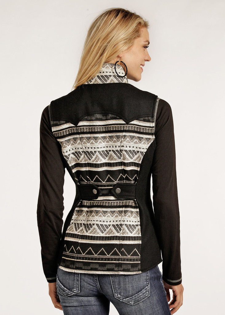 Women's Powder River Vest, Wool, Black and Cream Aztec