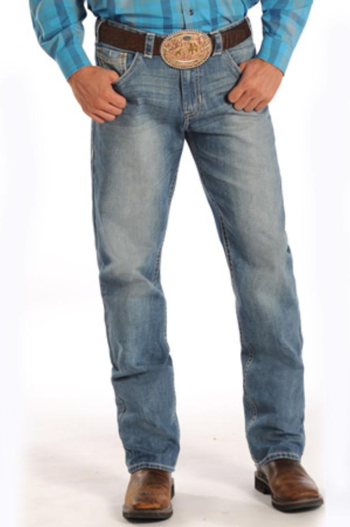 Men's Rock & Roll Jeans, Medium Wash, Tan Stitch, Tuff Cooper Competition