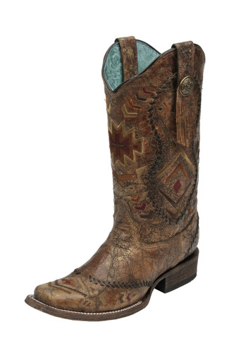 Women's Corral Boot, Cognac w/ Whipstitch/Aztec Print