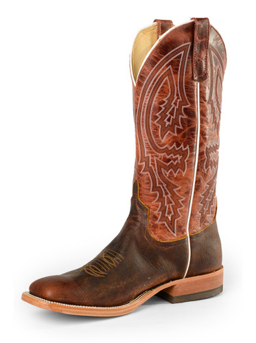 Men's Anderson Bean Boot, Rust w/White Piping/ Chocolate Brown