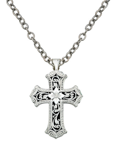 Montana Necklace, Silver Cross with Floral Design