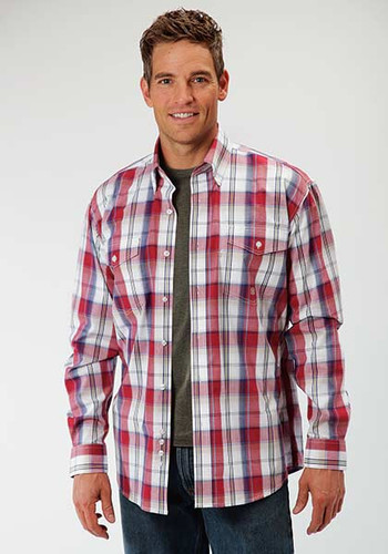 Men's Roper L/S, Red and Blue Plaid