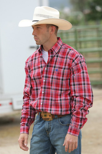 Men's Cinch L/S, Red & Black Plaid