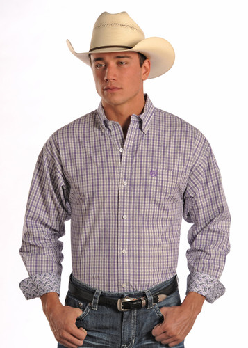 Men's Panhandle Slim L/S, Purple & White Plaid