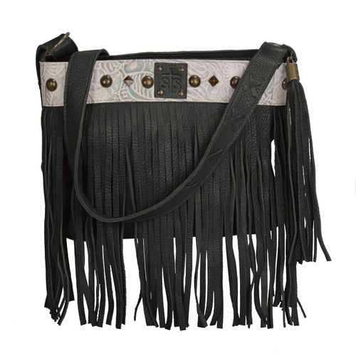 Women's STS Purse, Black with Tooled Leather, The Lila
