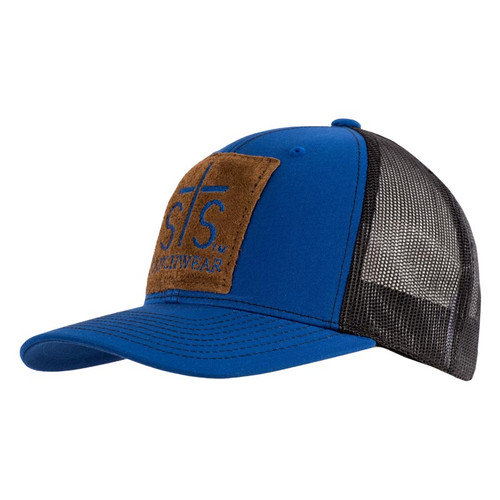 Men's STS Cap, Royal Blue and Black, Leather STS Patch