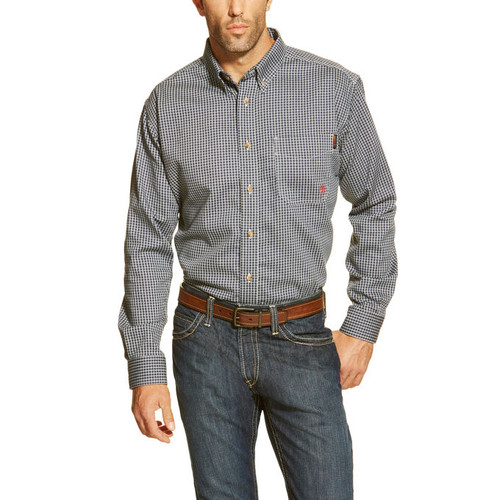 Men's Ariat L/S, FR Blue Plaid