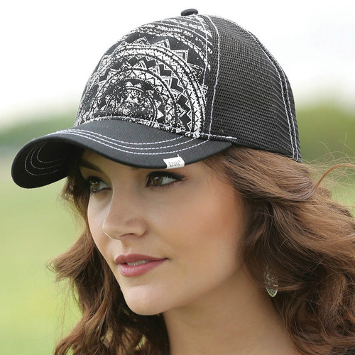 Women's Cruel Girl Cap, Black Trucker Style with White Tribal Design