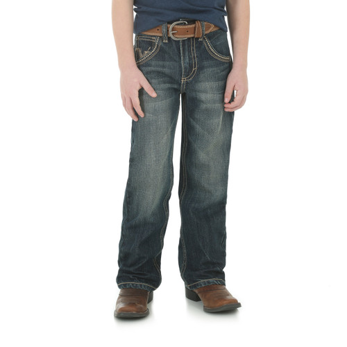Boys Wrangler 20X Jeans No.42, Dark Wash, Tan & Cream Stitching