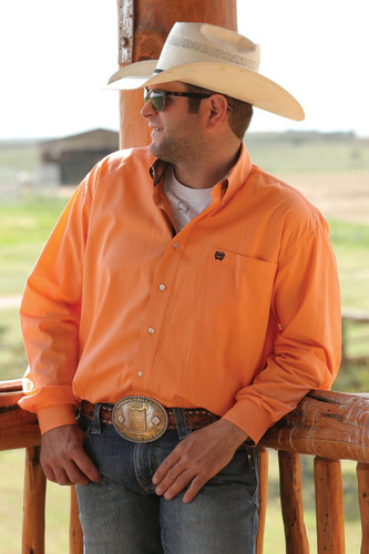 Men's Cinch L/S, Solid Pale Orange