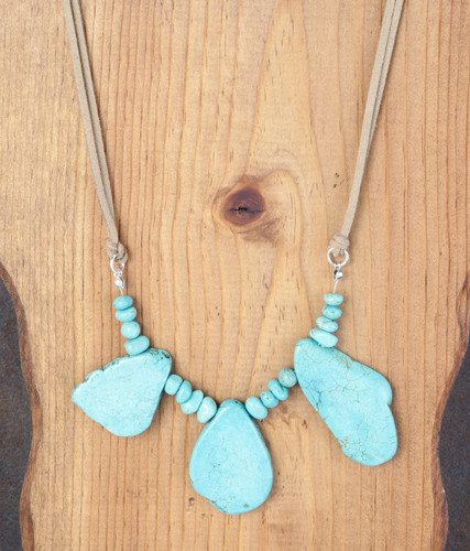 West & Co. Necklace, Brown 2 Strand Cord, 3 Turquoise Chunks