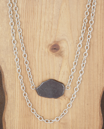 West & Co. Necklace, 2 Silver Chains, Black Chunky Stone