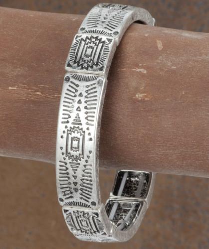 West & Co.Bracelet, Silver with Aztec Imprint