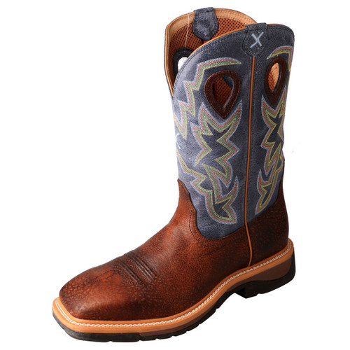 Men's Twisted X Work Boot, Brown, Navy Shaft, Multicolor Stitching