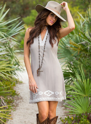 Women's Brontë Dress, Suri, Taupe Sleeveless with White Aztec Embroidery