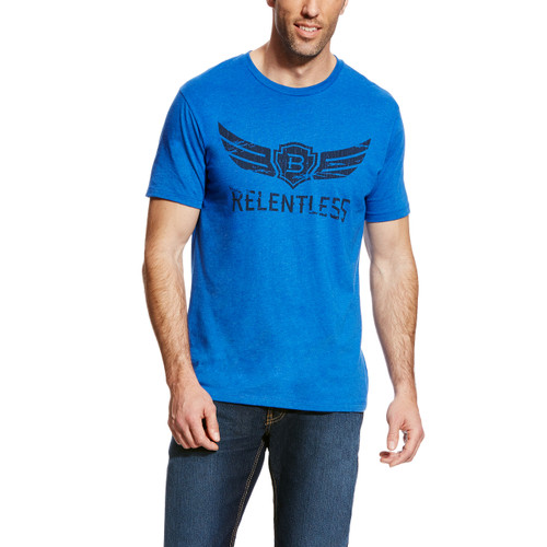 Men's Relentless Tee, Royal Blue with Black Logo