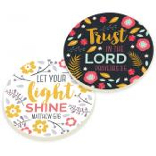 PGD Car Coaster Set, Trust in the Lord, Let the Light Shine