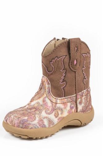 Roper Infant Boots, Glitter Paisley