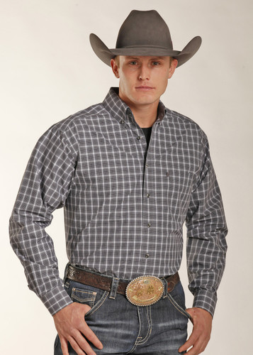 Men's Tuf Cooper L/S, Navy, Gray and White Plaid