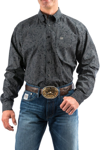 Men's Cinch L/S, Black with Gray Paisley Print