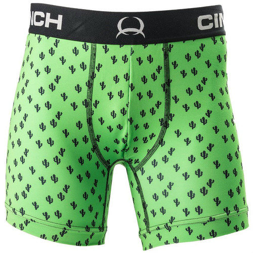 "Men's Cinch Briefs, Print, 6"", Green with Cactus"