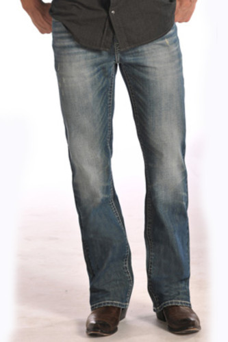 "Men's Rock & Roll Jeans Med Wash, Relax, Straight Leg, Cream ""V"" Stitch Pocket"