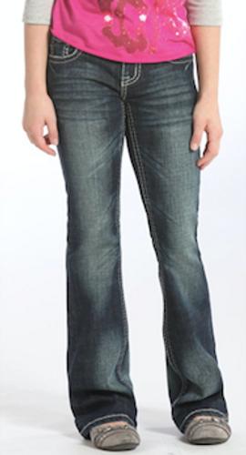 Girls Rock & Roll Jean, Medium Wash, Silver Stitching
