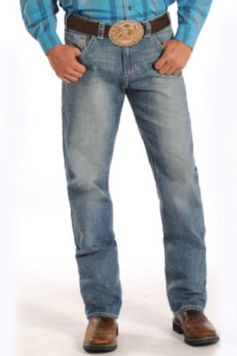 Men's Rock & Roll Jeans, Medium Wash, Tan Stitch, Tuff Cooper Competition