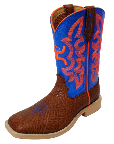 Kids Twisted X Boot,Hooey Brown with Blue and Orange