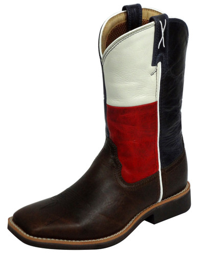 Kids Twisted X Boot, Chocolate, Texas Flag Top