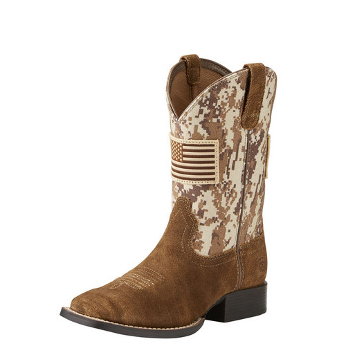 Kids Ariat Boot, Antique Mocha Washed Suede with Sand Camo Print