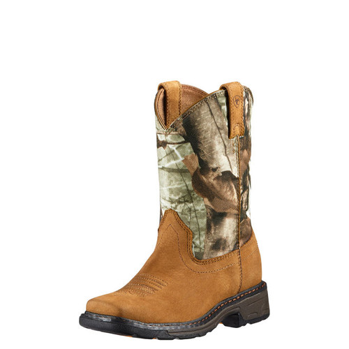 Kids Ariat Boot, Brown with Camo Top