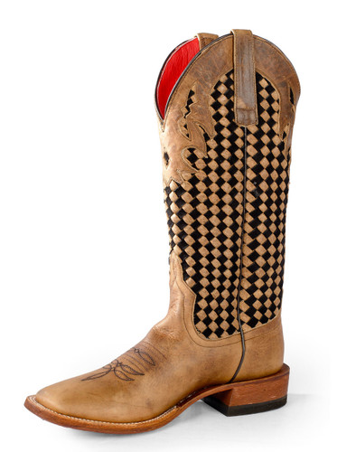 Women's Macie Bean Boot, Brown W/ Boot Weave Top