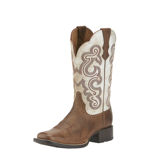 Women's Ariat Boot, Brown/ Cream w/ Pink Stitch