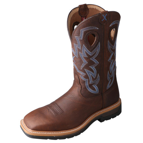 Men's Twisted X Steel Toe Boot, Brown & Blue, Wide Square Toe