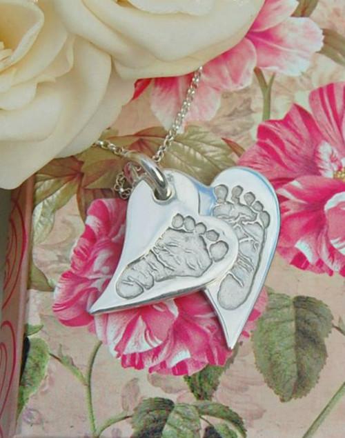 Hand/Foot print double stacked pendant - wavy heart shape