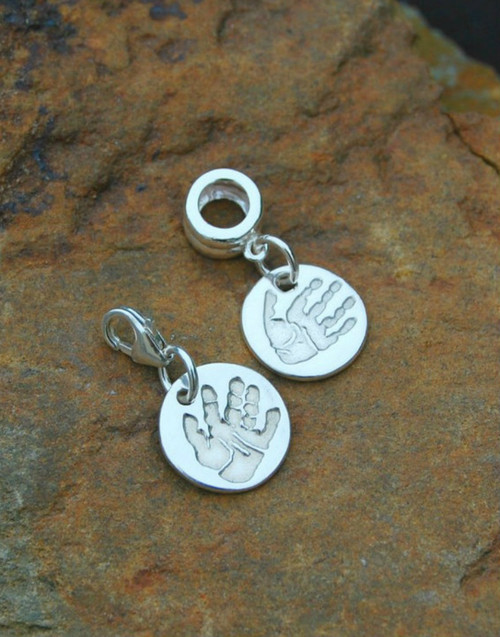 Fine silver circle print charm and sterling sterling pandora style carrier. Choose to have your charm either on a trigger clasp or pandora style carrier