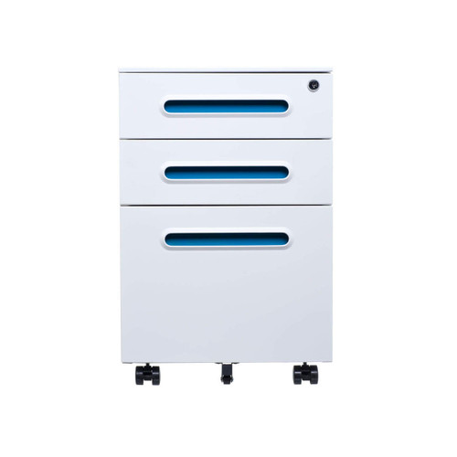 White & Teal Accent File Cabinet
